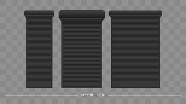 Schwarzer rollladen am eurofenster. realistisches eurofenster mit rollladenvektor.