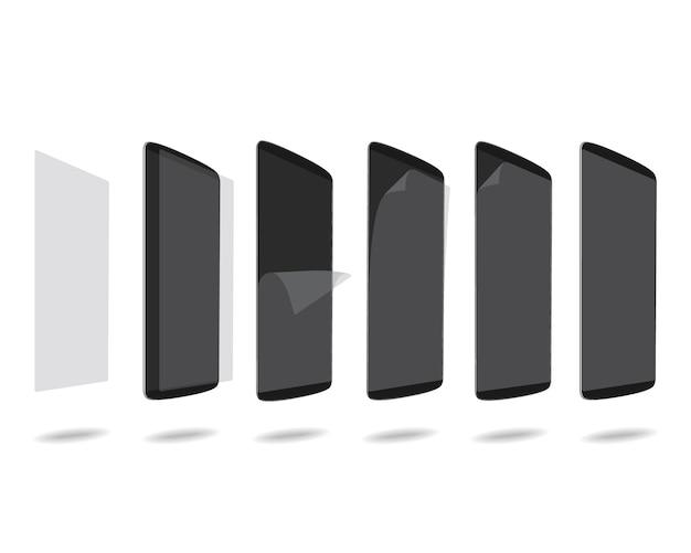 Schwarzer schutzfilm der intelligenten telefone auf schirm stellte verschiedene winkel ein