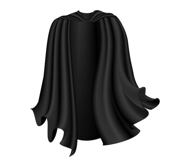 Schwarzer seidenumhang auf weißem hintergrund halloween-satin-vampir-umhang-vektor-illustration