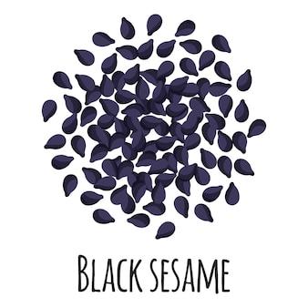 Schwarzer sesam für vorlagenbauernmarktdesign, -etikett und -verpackung. natürliches energieprotein bio-superfood.