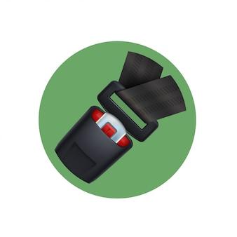 Schwarzer sicherheitsgurt auf grünem symbol