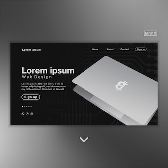 Schwarzer silberner auszug des bitcoin-laptops für homepage