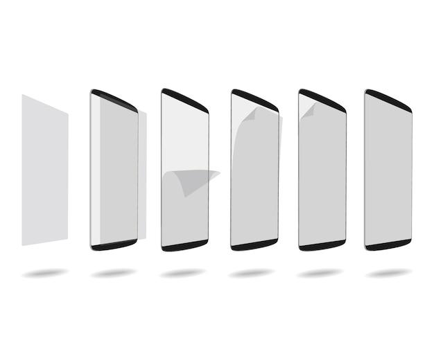 Schwarzer smartphone-bildschirm mit schutzglas stellte verschiedene schritte ein