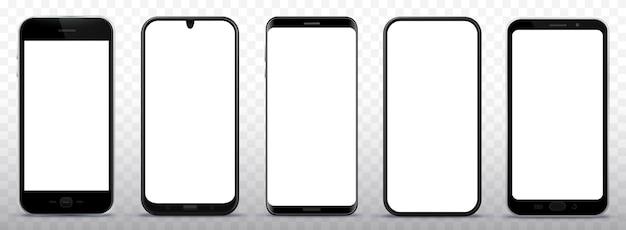 Schwarzer smartphone-illustrationssatz mit weißem bildschirm und transparentem hintergrund