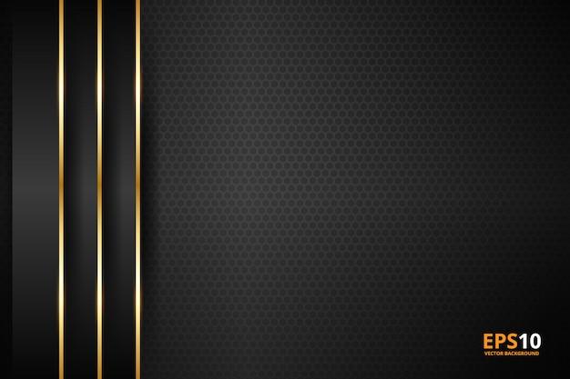 Schwarzer streifen mit goldrand auf dem dunklen hintergrund