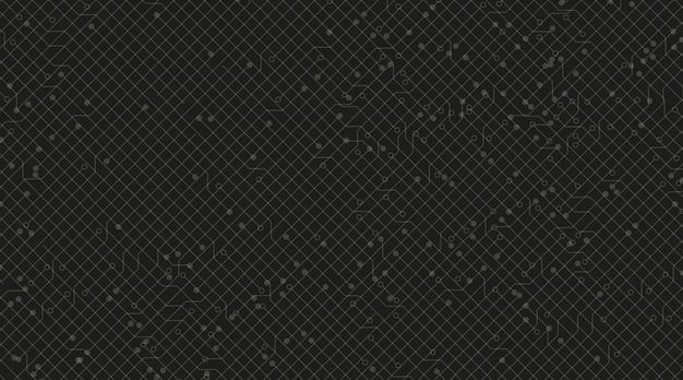 Schwarzer stromkreis-mikrochip-technologie-hintergrund