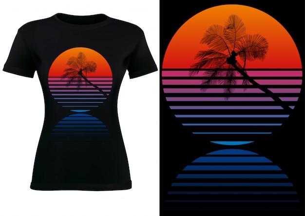Schwarzer t-shirt entwurf mit tropischer palme und sonnenuntergang