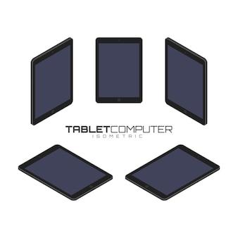 Schwarzer tablet-computer von vier seiten icon set vektorgrafik illustration. isometrische ansicht von vorne, hinten, rechts, links und oben.