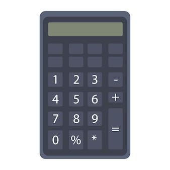 Schwarzer taschenrechner mit zahlen und bildschirm für die berechnung clipart auf einem weißen, isolierten hintergrund