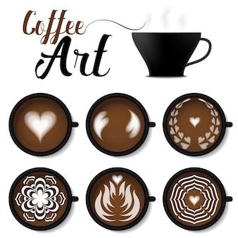 Schwarzer tasse kaffee latte kunstset