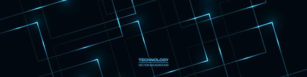 Schwarzer technologischer abstrakter breiter bannerhintergrund mit blauen leuchtenden linien und hervorhebungen.