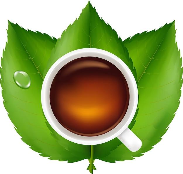 Schwarzer tee mit frischen grünen blättern, lokalisiert auf weißem hintergrund,