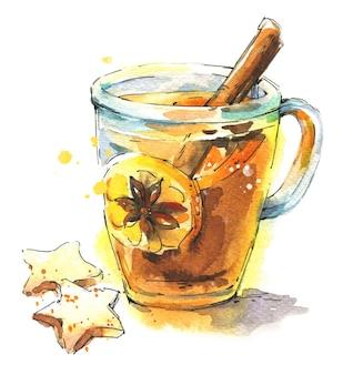 Schwarzer tee mit zitrone und gewürzen, serviert in einer transparenten tasse mit keks-aquarell-illustration