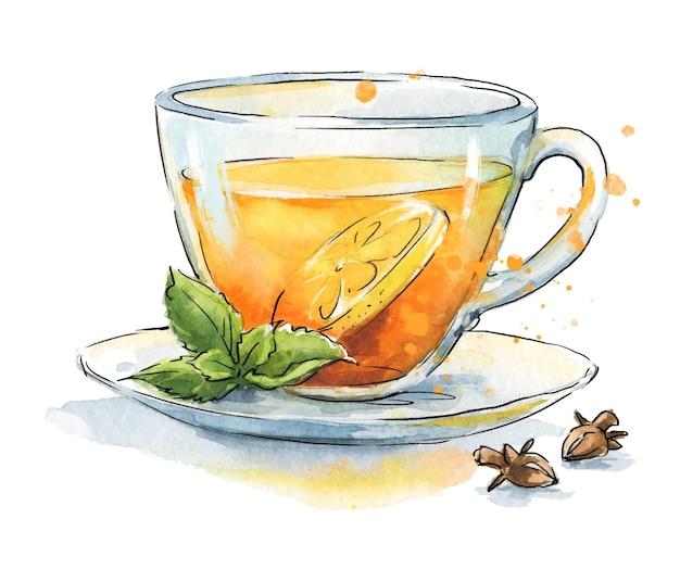 Schwarzer tee mit zitrone und gewürzen, serviert in transparenter tasse, handgemalte aquarellillustration