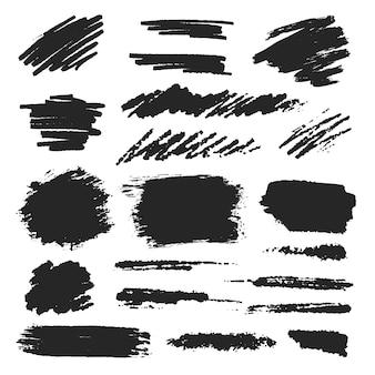 Schwarzer tintenpinsel und bleistiftstrichset, abstrichsammlung, grunge-effekt