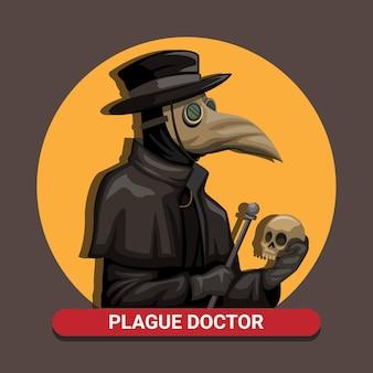 Schwarzer todespest-doktor tragen vogelmasken-kostüm, das schädel und stab im mittelalterlichen konzept in karikaturillustration hält