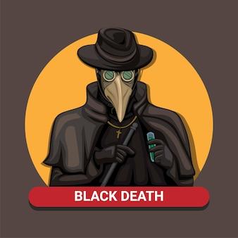 Schwarzer todesplagendoktor. mittelalterliche pandemische sanitätermannschaft tragen vogelmaskenkostüm-symbolkonzept in der karikaturillustration