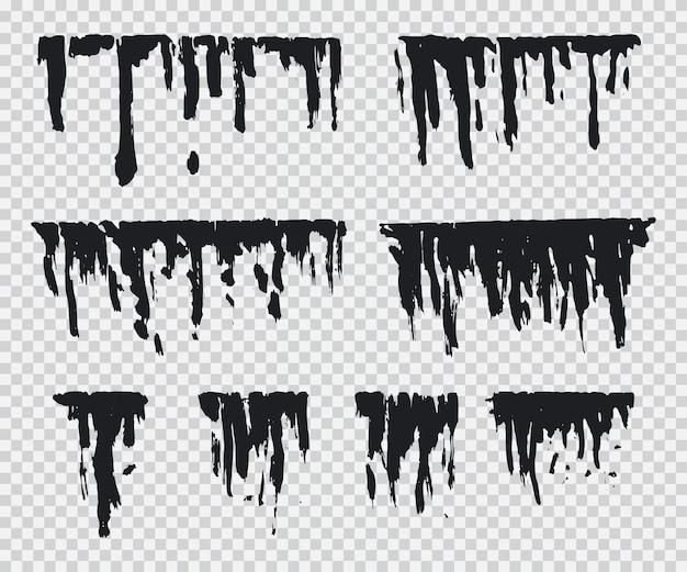 Schwarzer tropfenvektorsatz lokalisiert auf einem transparenten hintergrund.