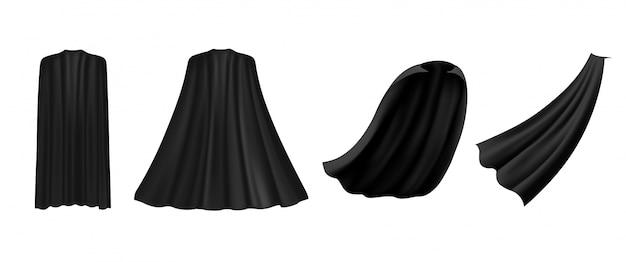 Schwarzer umhang des superhelden in verschiedenen positionen, vorder-, seiten- und rückansicht auf weißem hintergrund. kostüm partykleidung, maskerade.