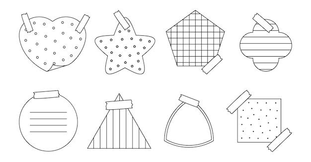 Schwarzer umriss-papieraufkleber mit verschiedenen formen, notizblock von erinnerungsnachrichten oder organisator-memo-aufkleber mit verschiedenen linearen kreuzpunkt- und gittermustern einzeln auf weißer vektorillustration