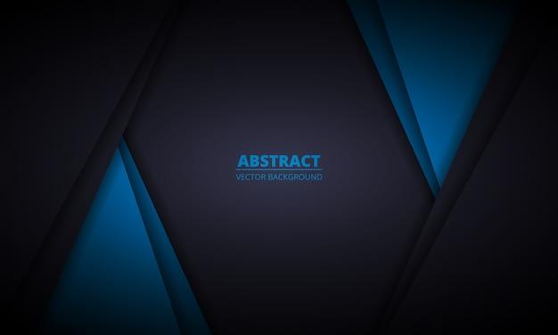 Schwarzer und blauer abstrakter hintergrund mit papierlinien. dunkle elegante moderne designillustration.