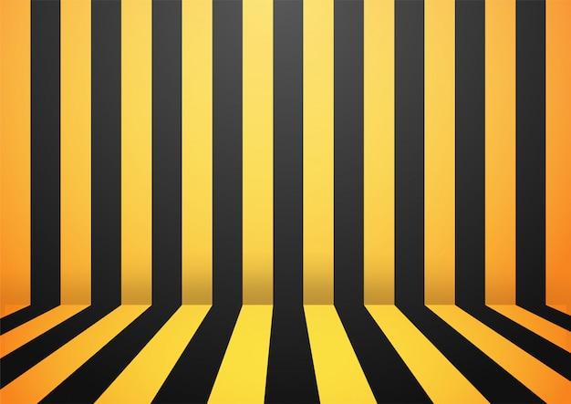 Schwarzer und gelber abstrakter streifenwand-raumhintergrund.