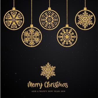 Schwarzer und goldener hintergrund der frohen weihnachten