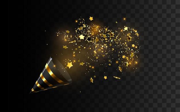 Schwarzer und goldener party popper mit explodierenden konfettipartikeln