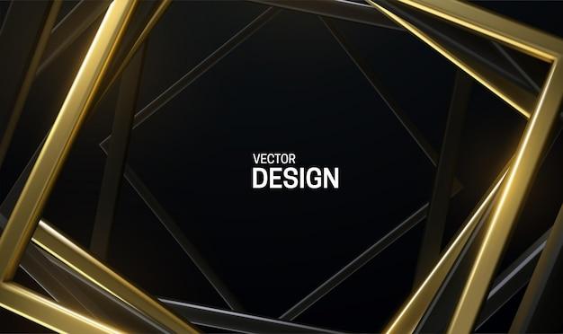 Schwarzer und goldener quadratischer rahmen abstrakter hintergrund Premium Vektoren