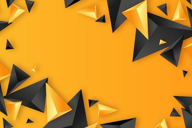 Schwarzer und orange hintergrund des dreiecks 3d