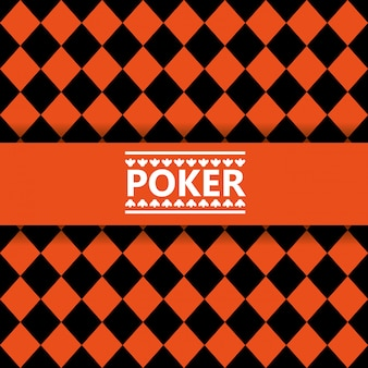 Schwarzer und orange nahtloser hintergrund der pokerbeschriftung