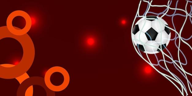 Schwarzer und oranger sporthintergrund mit realistischer vektorillustration des fußballs und der bänder