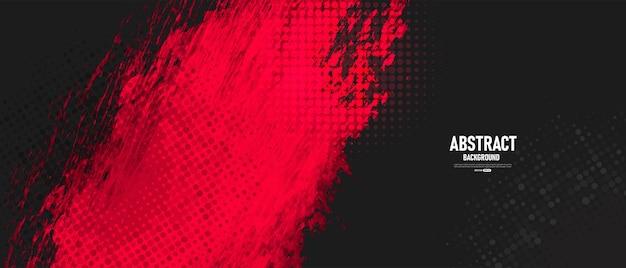 Schwarzer und roter abstrakter grunge-hintergrund mit halbton-stil