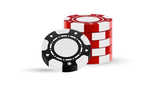 Schwarzer und roter chipstapel lokalisiert auf weißem hintergrund