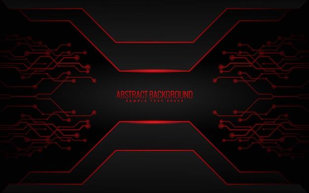Schwarzer und roter technologiehintergrund