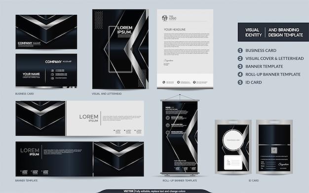 Schwarzer und silberner luxusbriefpapiersatz und sichtmarkenidentität mit abstrakter überlappung überlagert hintergrund