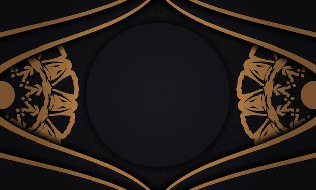 Schwarzer vektorhintergrund mit ornamenten und platz für ihr logo. designhintergrund mit luxuriösen ornamenten.