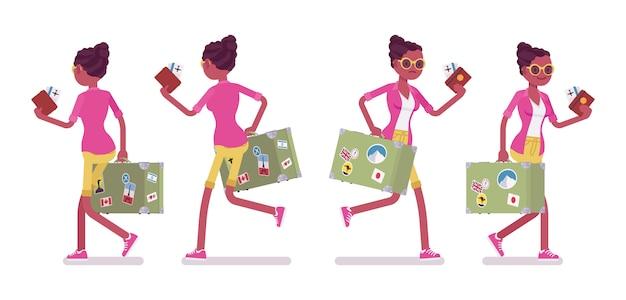 Schwarzer weiblicher gehender und laufender tourist
