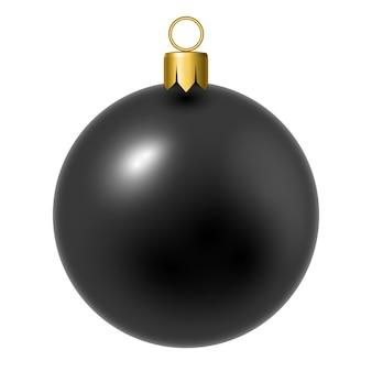 Schwarzer weihnachtsball auf weiß.