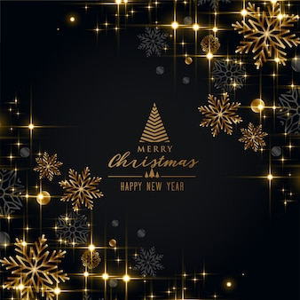 Schwarzer weihnachtsfestgruß mit goldenen schneeflocken