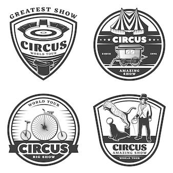 Schwarzer weinlese-zirkus-emblem-satz