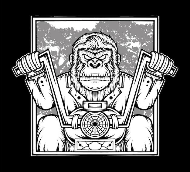 Schwarzer weißer gorilla, der motorrad reitet. premium-vektor