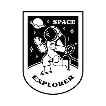 Schwarzer weißer ikonenkarikaturastronaut, der andere planeten im raum erforscht.