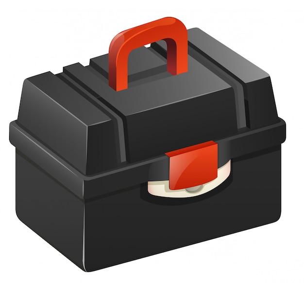 Schwarzer werkzeugkasten mit rotem griff
