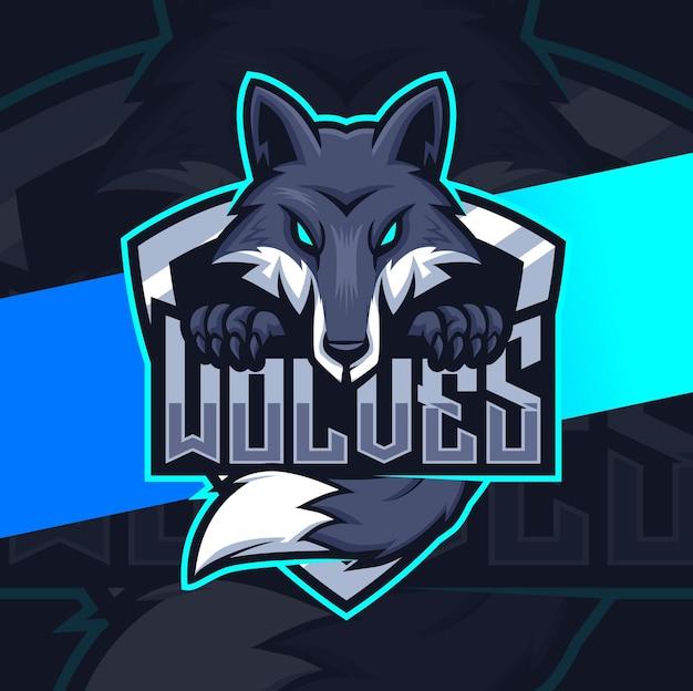 Schwarzer wolfs-maskottchencharakter für spiel- und esport-logo-design