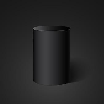 Schwarzer zylinder. runde schachtel.