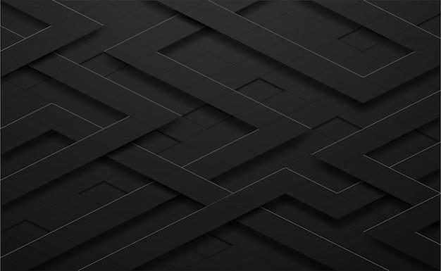 Schwarzes 3d und linie quadratischer hintergrund