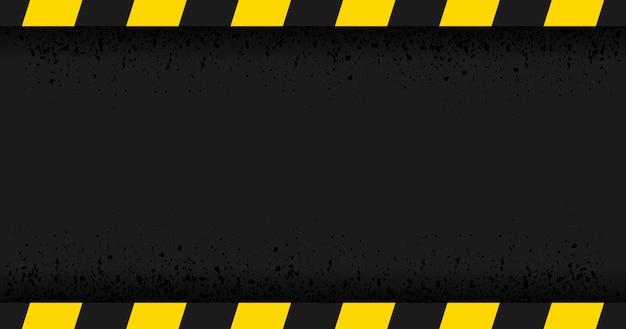 Schwarzes abgestreiftes rechteck auf schwarzem hintergrund. leeres warnzeichen. warnung hintergrund. vorlage. vektor-illustration