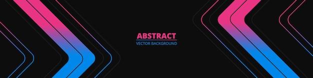 Schwarzes abstraktes breites horizontales banner mit farbigen linien