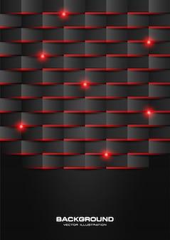 Schwarzes abstraktes geometrisches Muster mit rotem glänzendem Licht